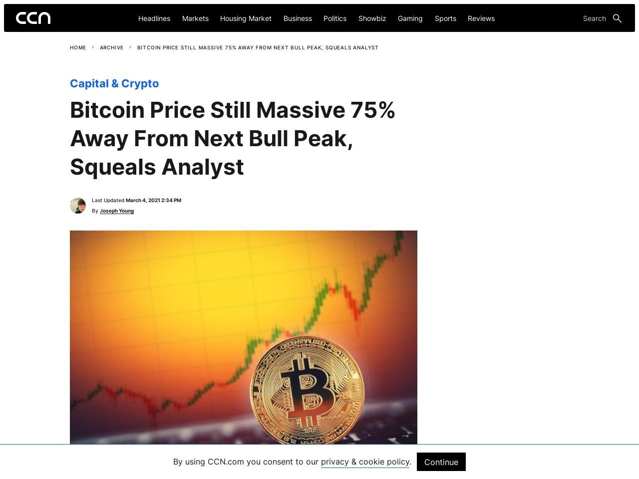 Bitcoin Price Still Massive 75% Away From Next Bull Peak, Squeals Analyst