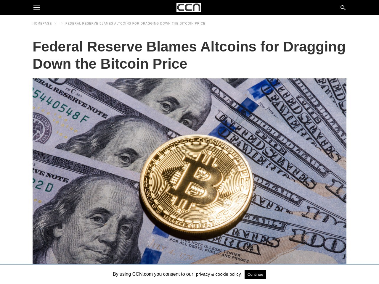 Federal Reserve Blames Altcoins for Dragging Down the Bitcoin Price