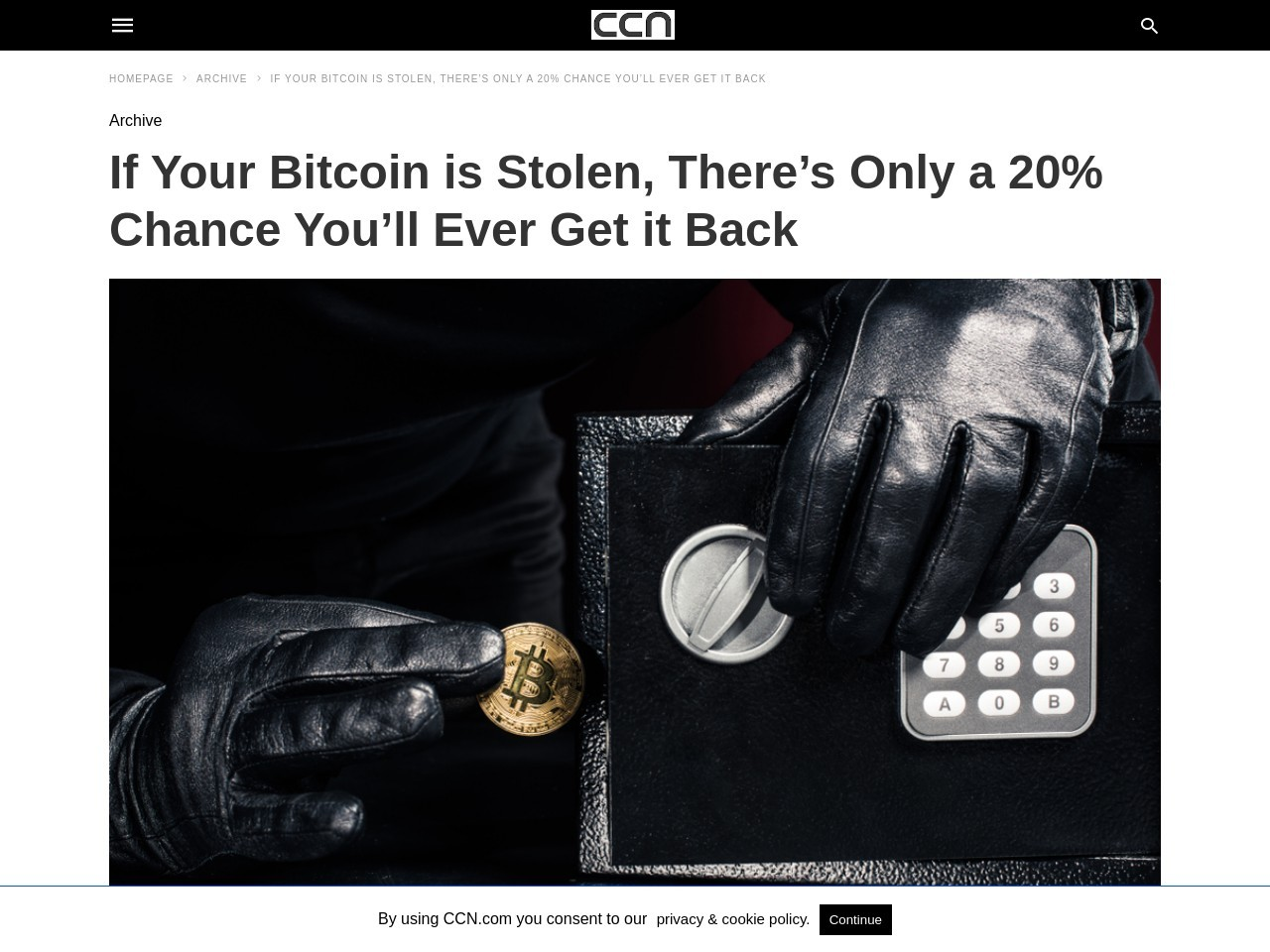 If Your Bitcoin is Stolen, There's Only a 20% Chance You'll Ever Get it Back