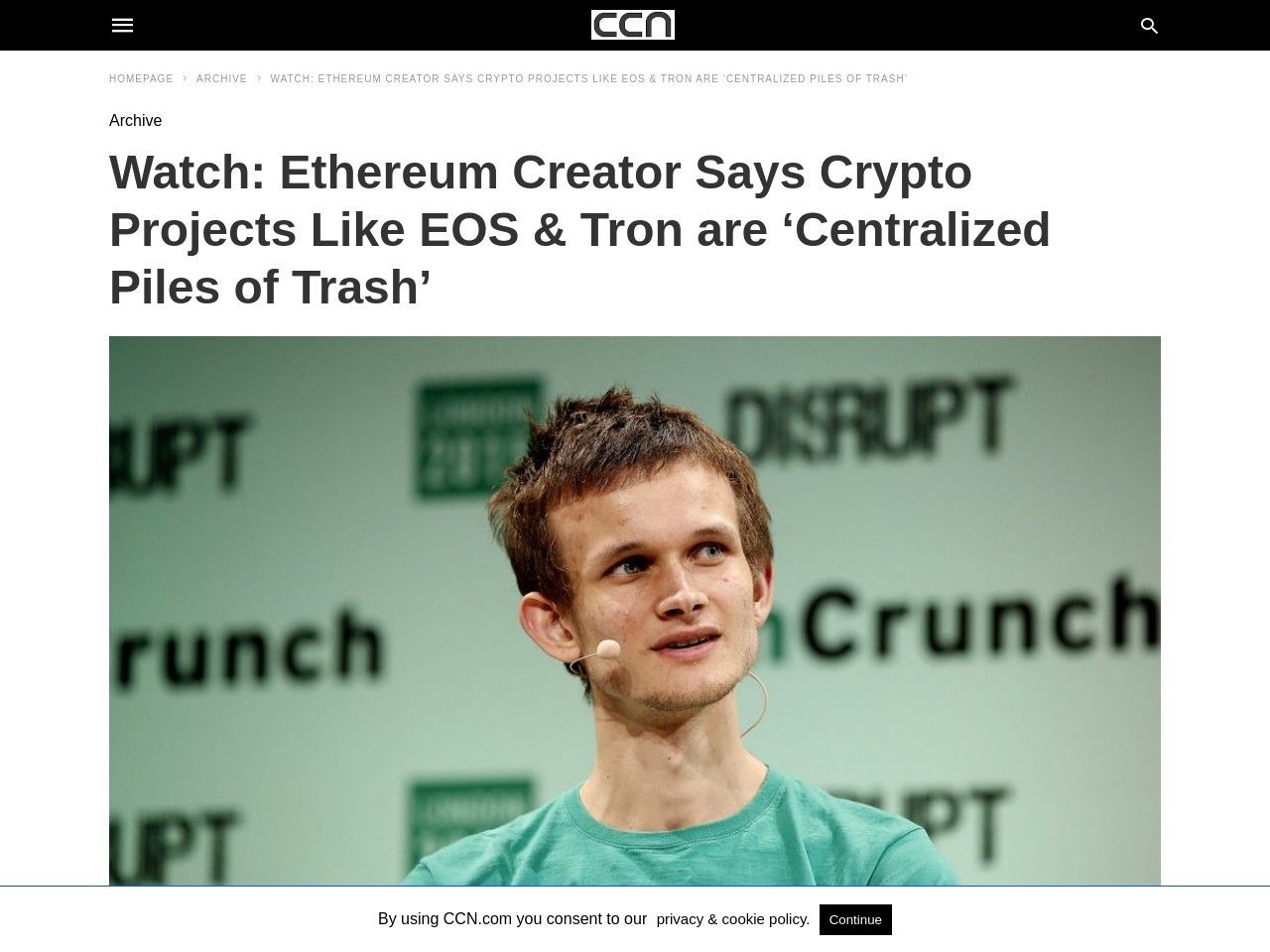 Watch: Ethereum Creator Says Crypto Projects Like EOS & Tron are 'Centralized Piles of Trash'