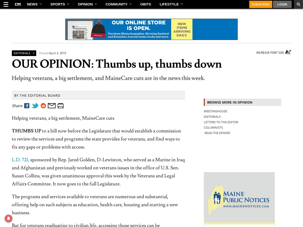 OUR OPINION: Thumbs up, thumbs down