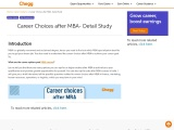 Career Choices after MBA- Detail Study