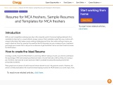 Resume for MCA freshers, Sample Resumes and Templates for MCA freshers