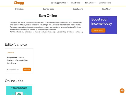 Earn online in India chegg india