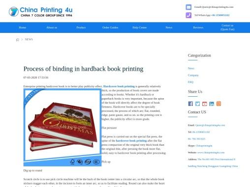 Process of binding in hardback book printing