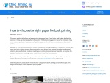 How to choose the right paper for book printing in China