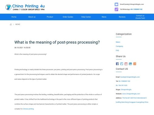 What is the meaning of post-press processing?