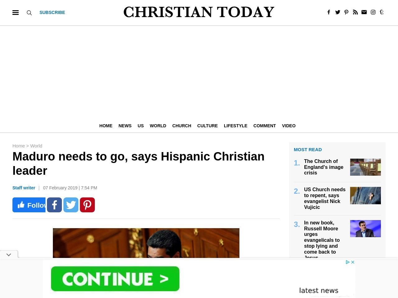 Maduro needs to go, says Hispanic Christian leader