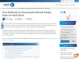 How to Download Hotmail Emails to Hard Drive / Computer?