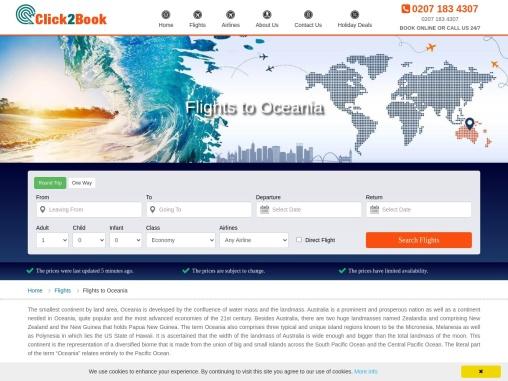 Flights to Oceania | Cheap Deals on Oceania Flights – Click2Book