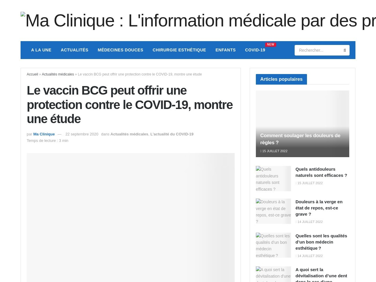 Le vaccin BCG peut offrir une protection contre le COVID-19, montre une étude