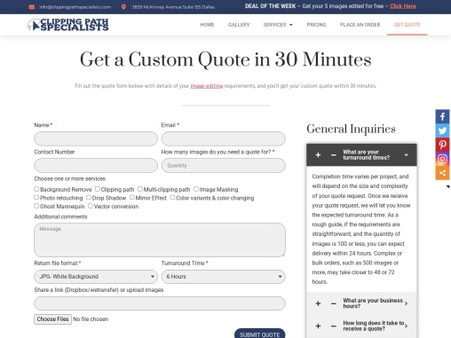 Clipping Path Specialists   Get a Custom Quote in 30 Minutes