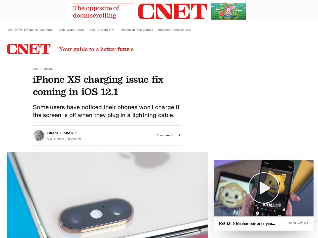 Apple's iOS 12.1 will fix iPhone XS, XS Max charging issue     – CNET