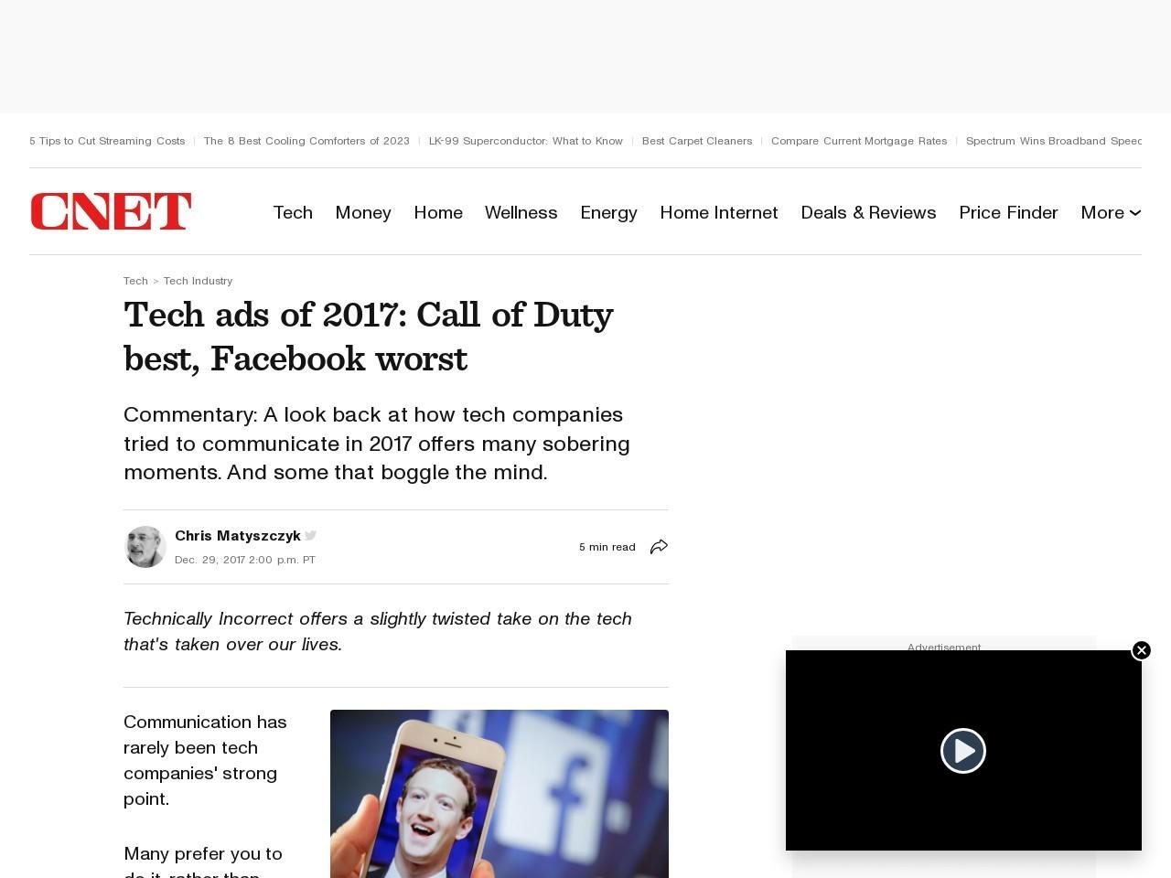 Tech ads of 2017: Call of Duty best, Facebook worst     – CNET