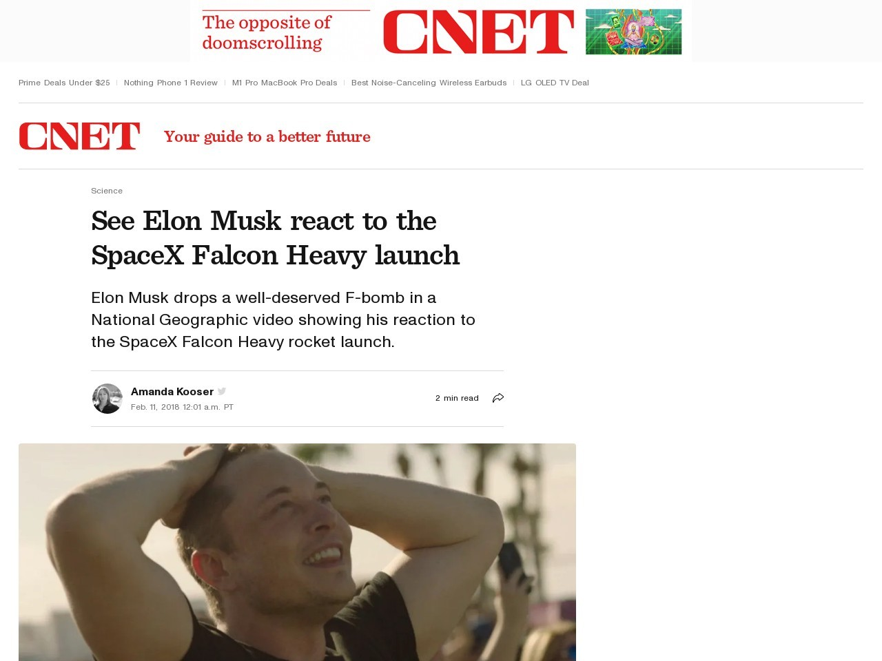 See Elon Musk react to the SpaceX Falcon Heavy launch     – CNET