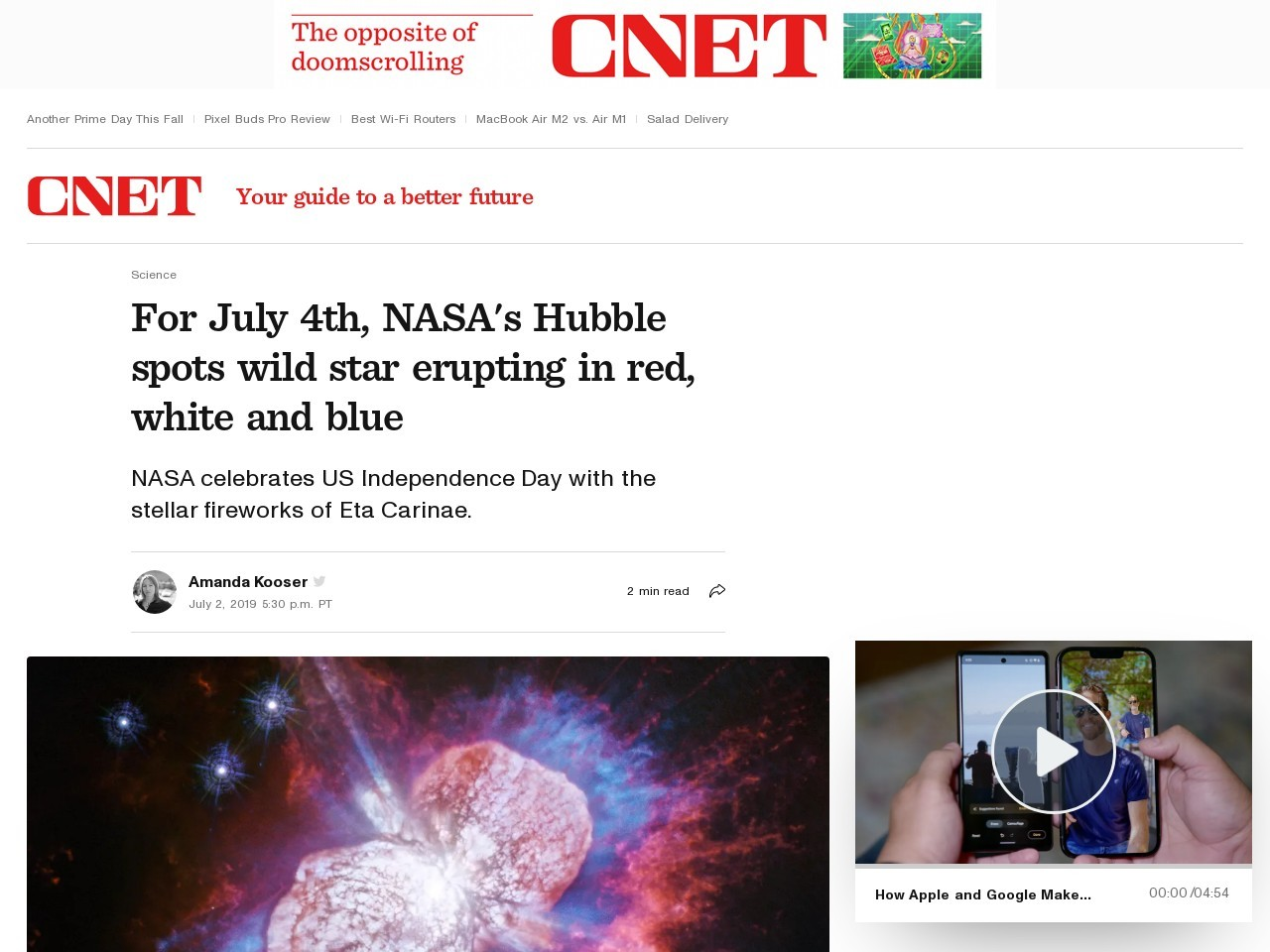For July 4th, NASA's Hubble spots wild star erupting in red, white and blue     – CNET