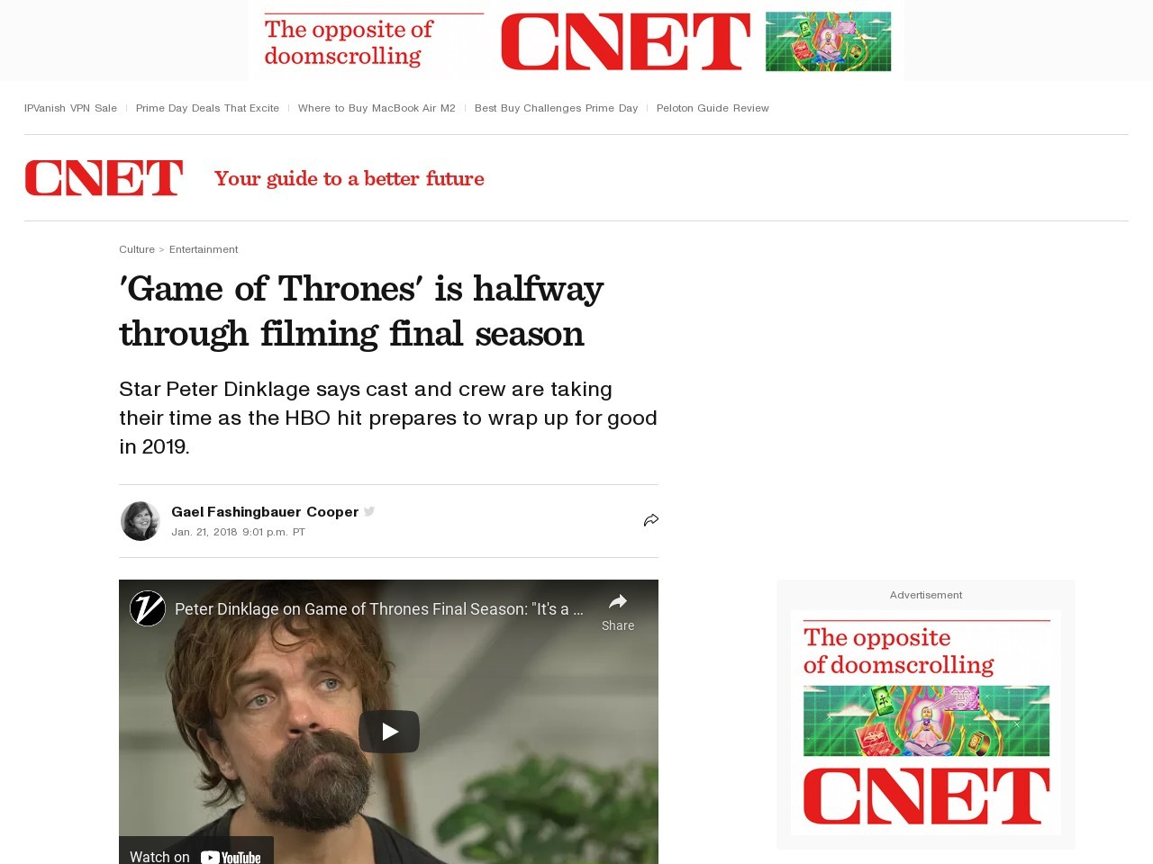'Game of Thrones' is halfway through filming final season     – CNET