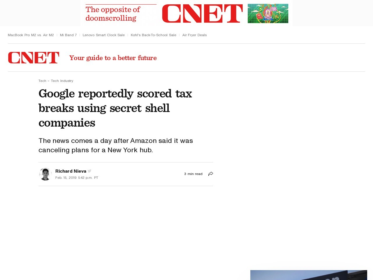 Google reportedly scored tax breaks using secret shell companies     – CNET