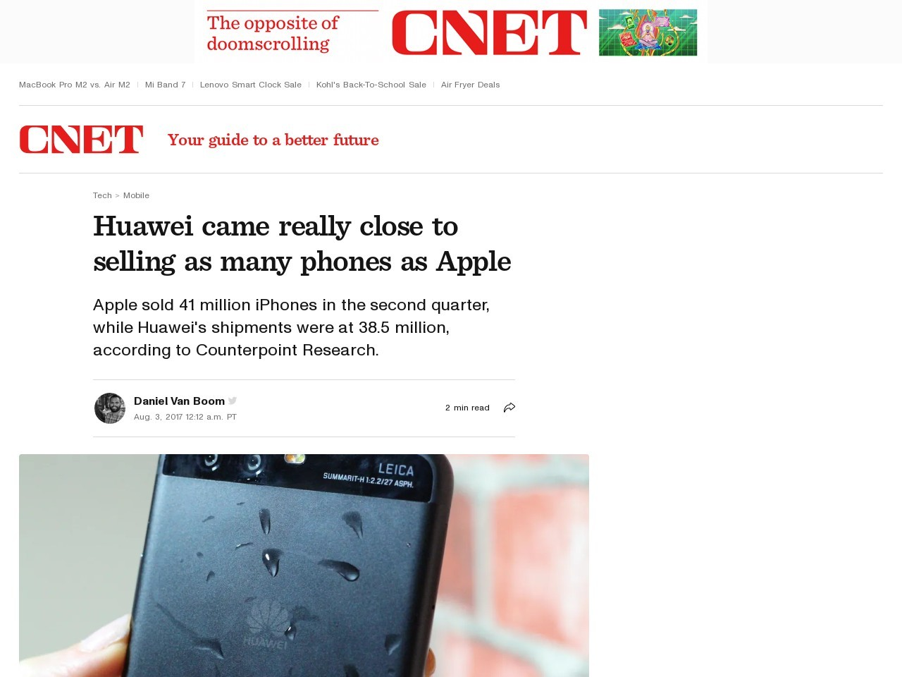 Huawei came really close to selling as many phones as Apple     – CNET