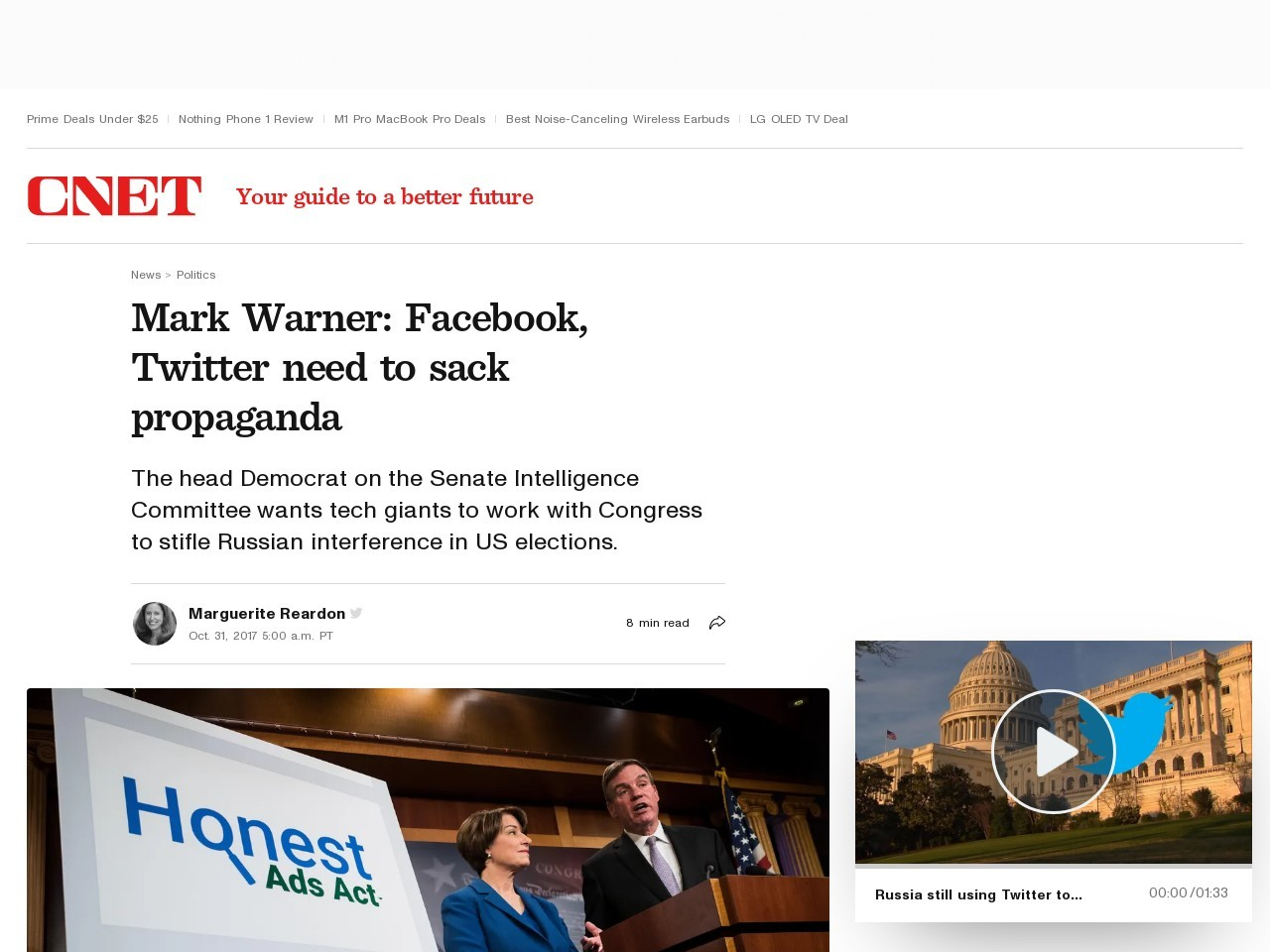 Mark Warner: Facebook, Twitter need to sack propaganda     – CNET