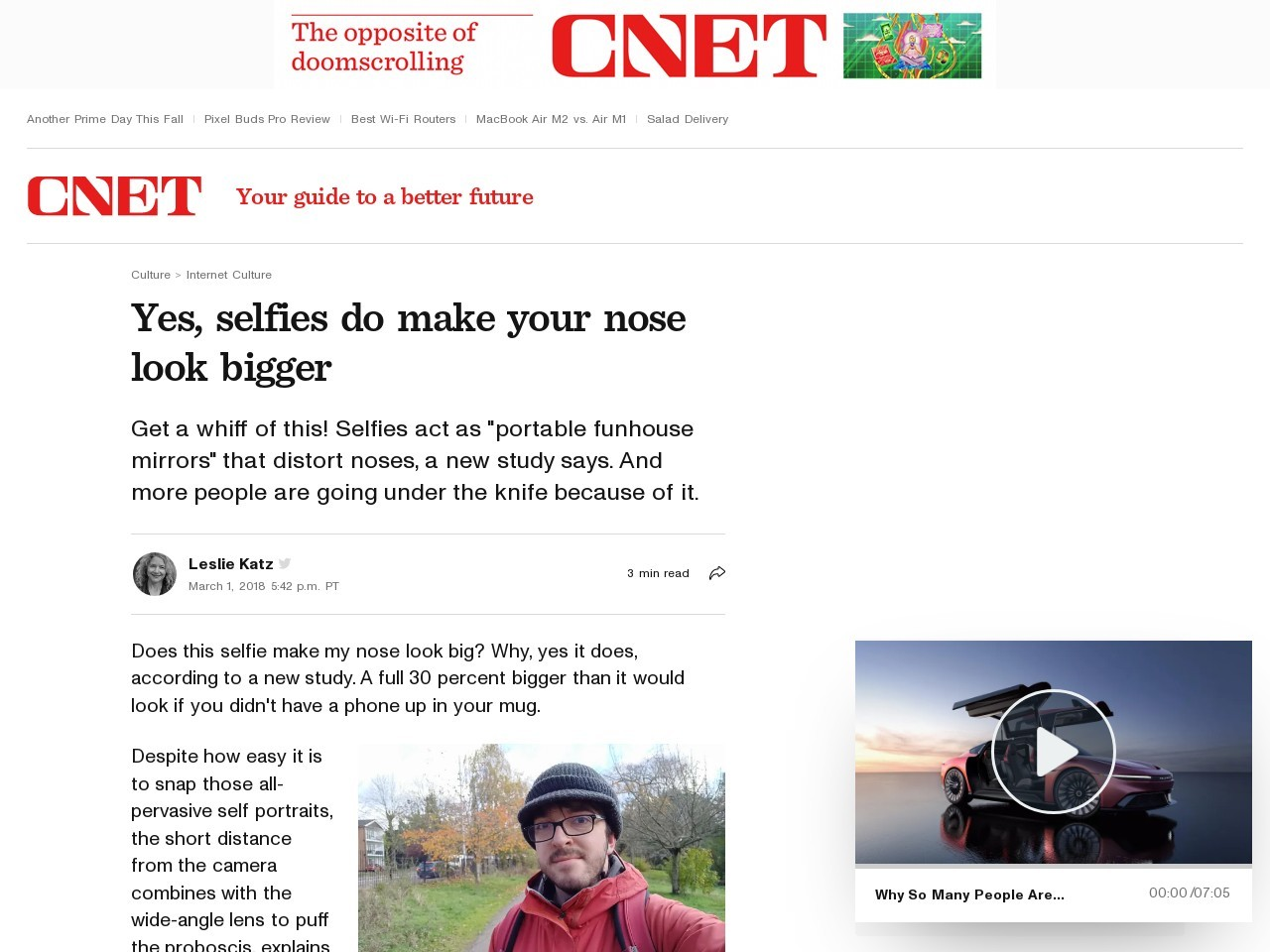 Yes, selfies do make your nose look bigger     – CNET