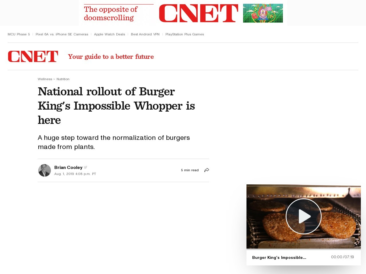 No April Fools' joke: This Whopper is meat-free, and you'd never know     – CNET
