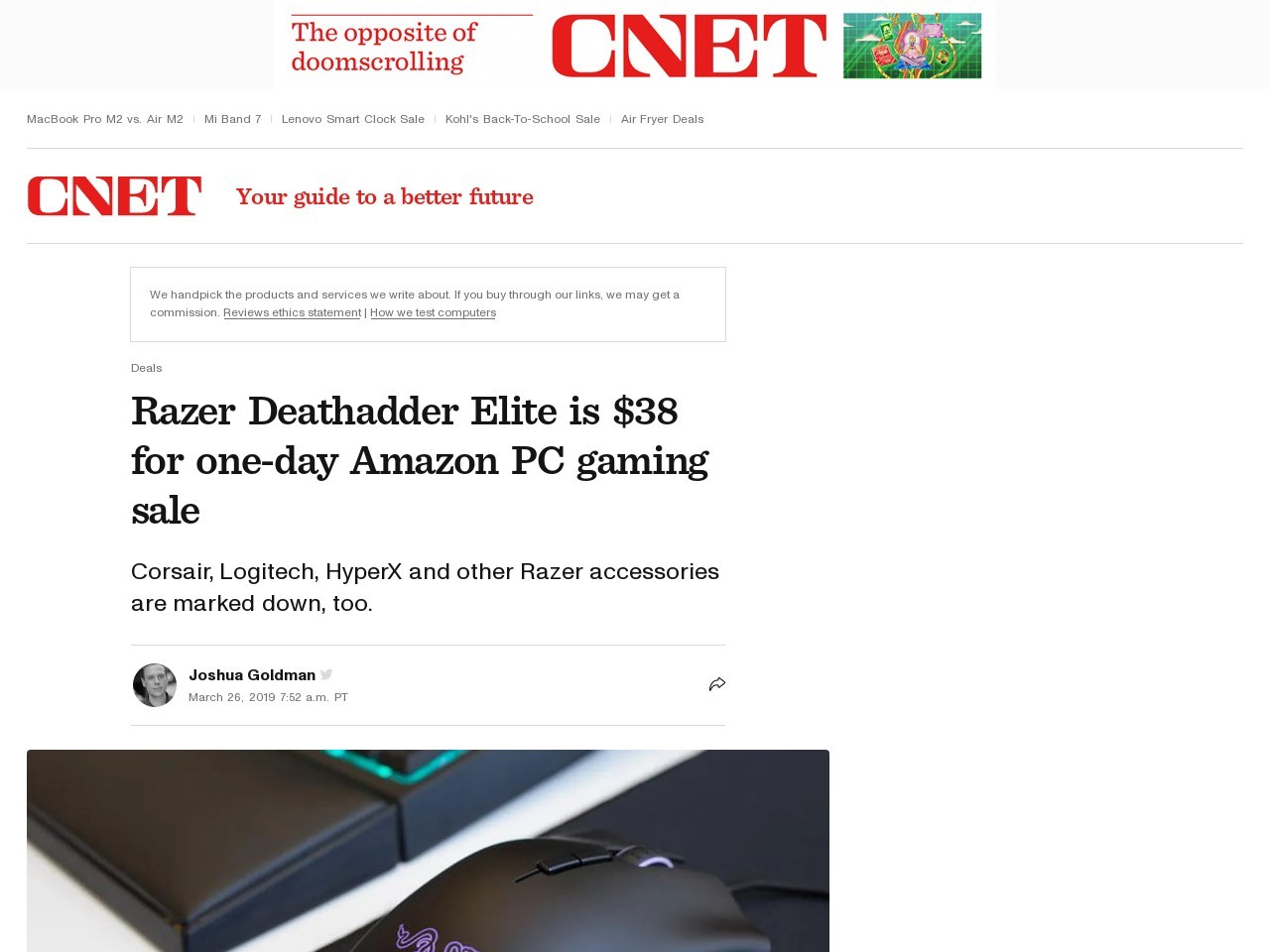 Razer Deathadder Elite is $38 for one-day Amazon PC gaming sale     – CNET