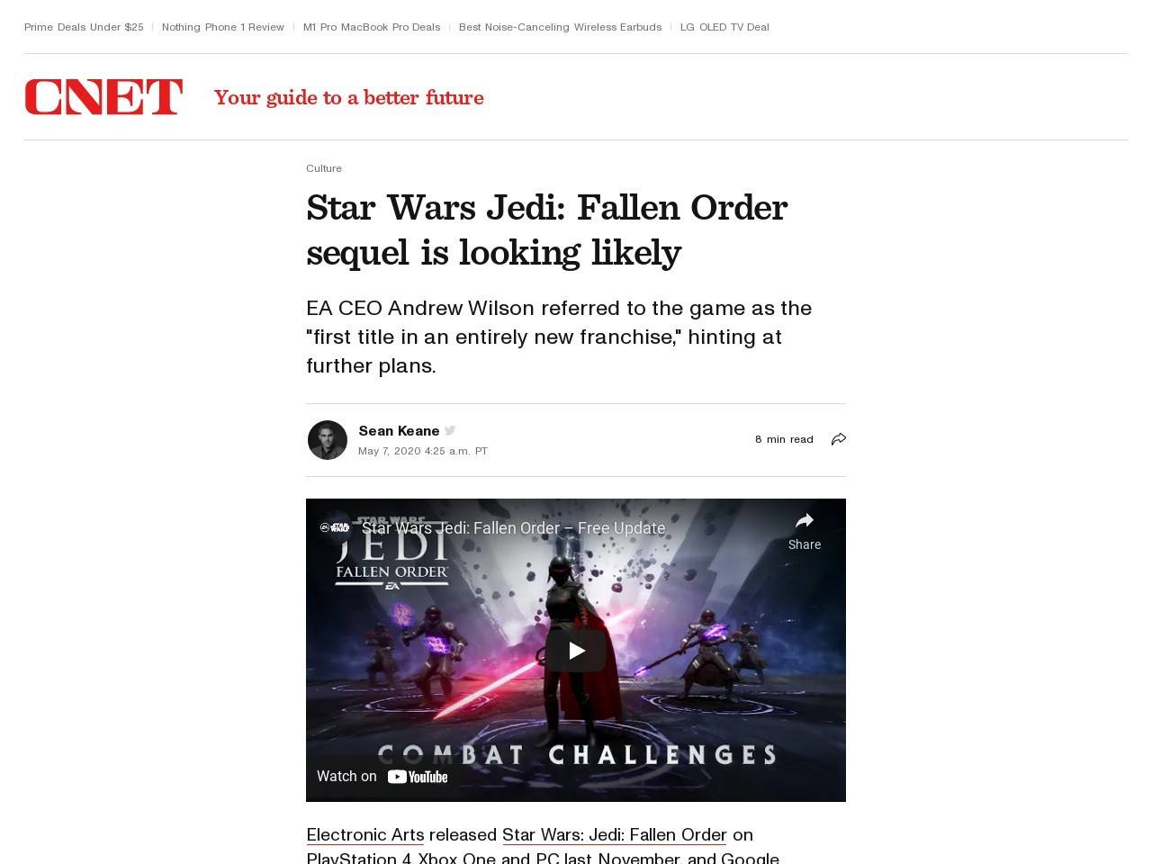 Star Wars Jedi: Fallen Order trailer, gameplay footage and everything we know     – CNET