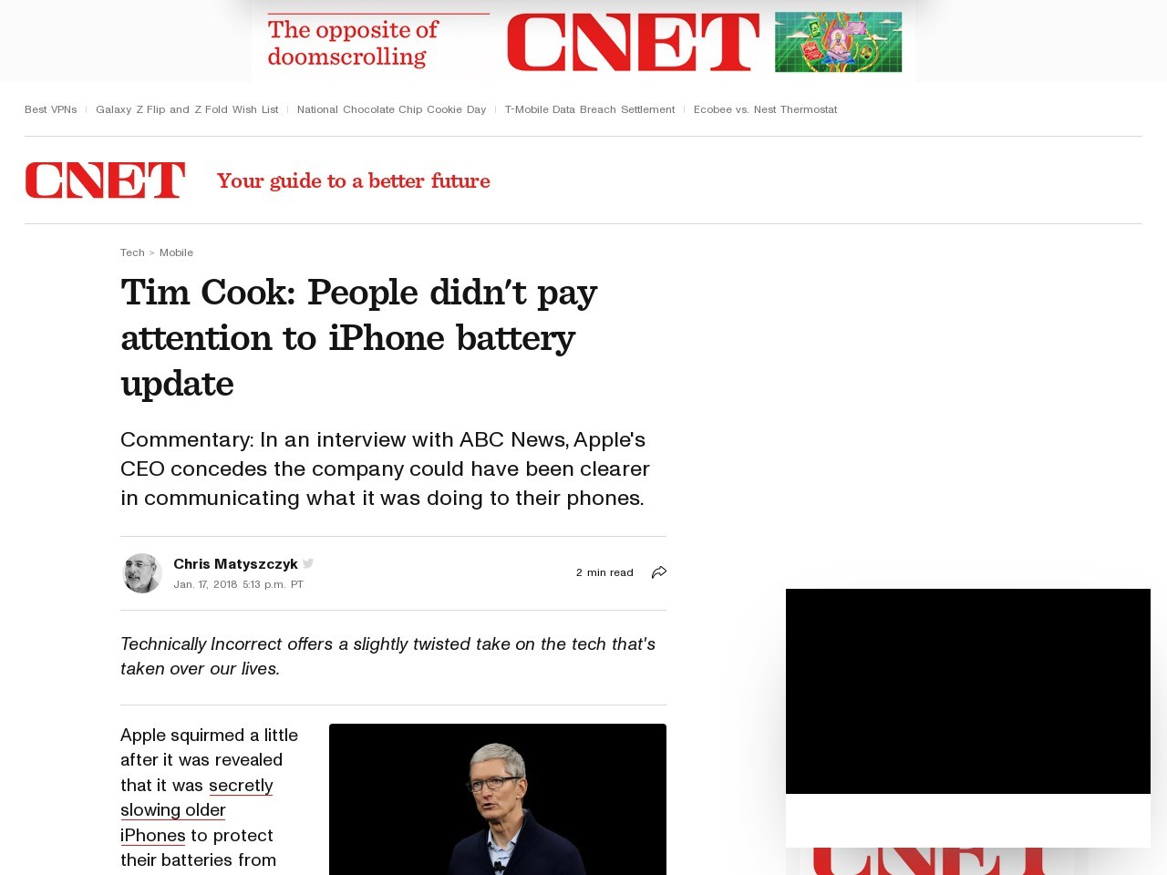 Tim Cook: People didn't pay attention to iPhone battery update     – CNET