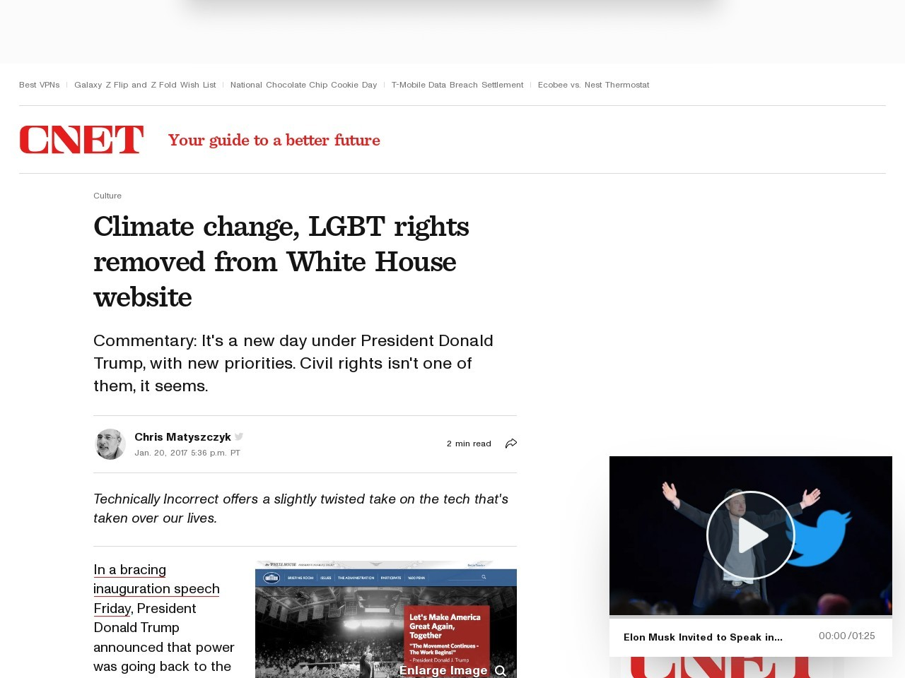 Climate change, LGBT rights removed from White House website     – CNET