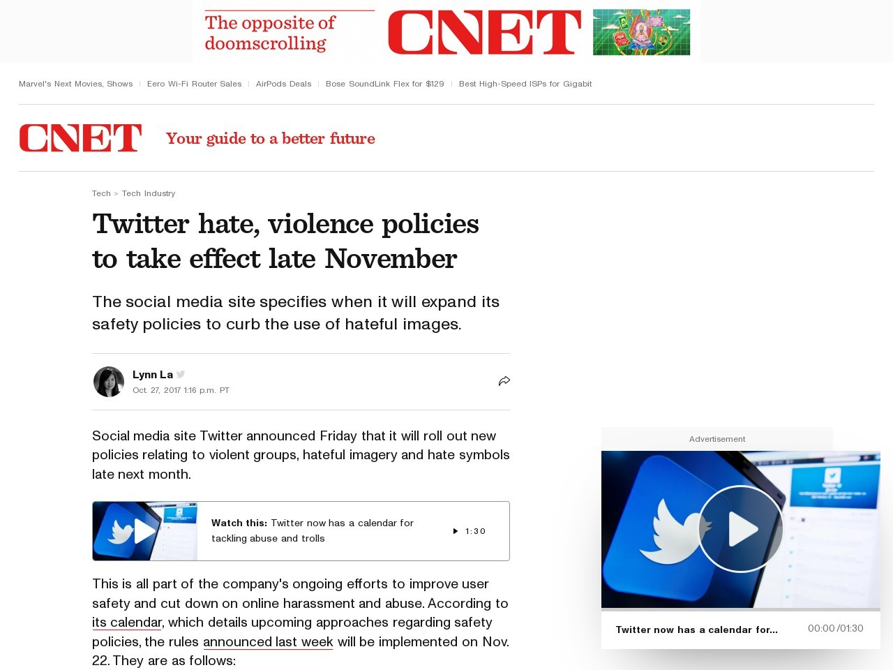 Twitter hate, violence policies to take effect late November     – CNET