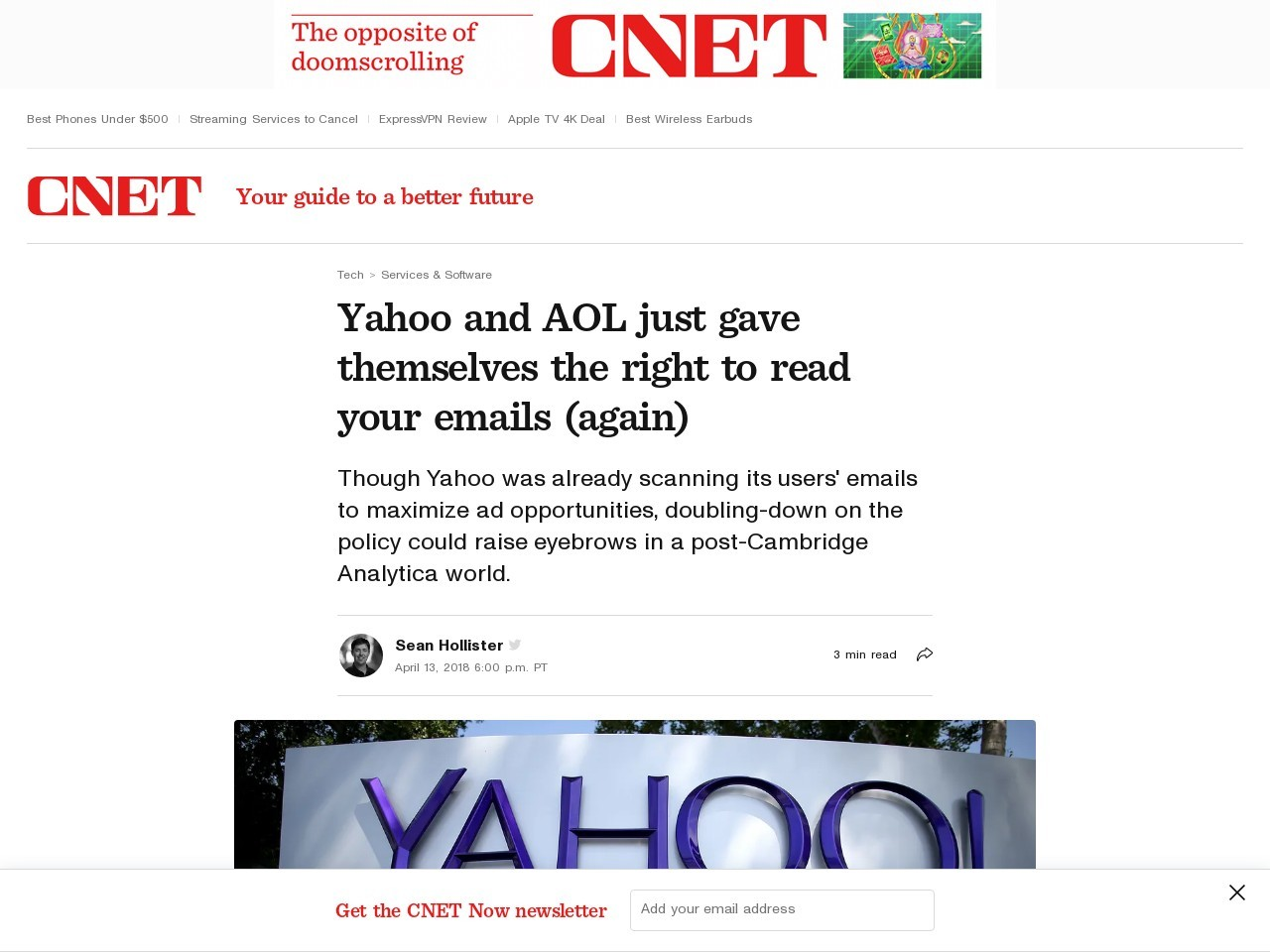 Yahoo and AOL just gave themselves the right to read your emails (again)     – CNET