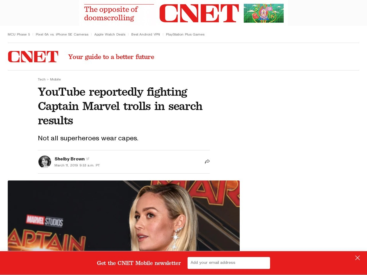 YouTube reportedly fighting Captain Marvel trolls in search results     – CNET