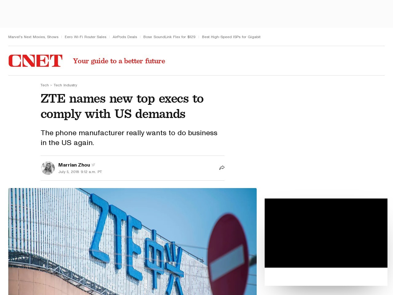 ZTE names new top execs to comply with US demands     – CNET