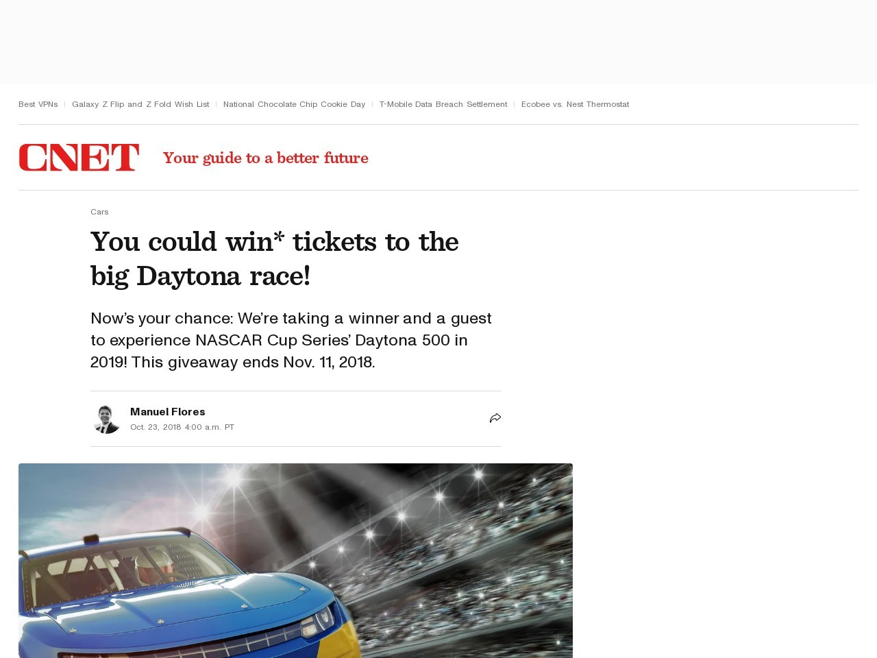 You could win* tickets to the big Daytona race!     – Roadshow