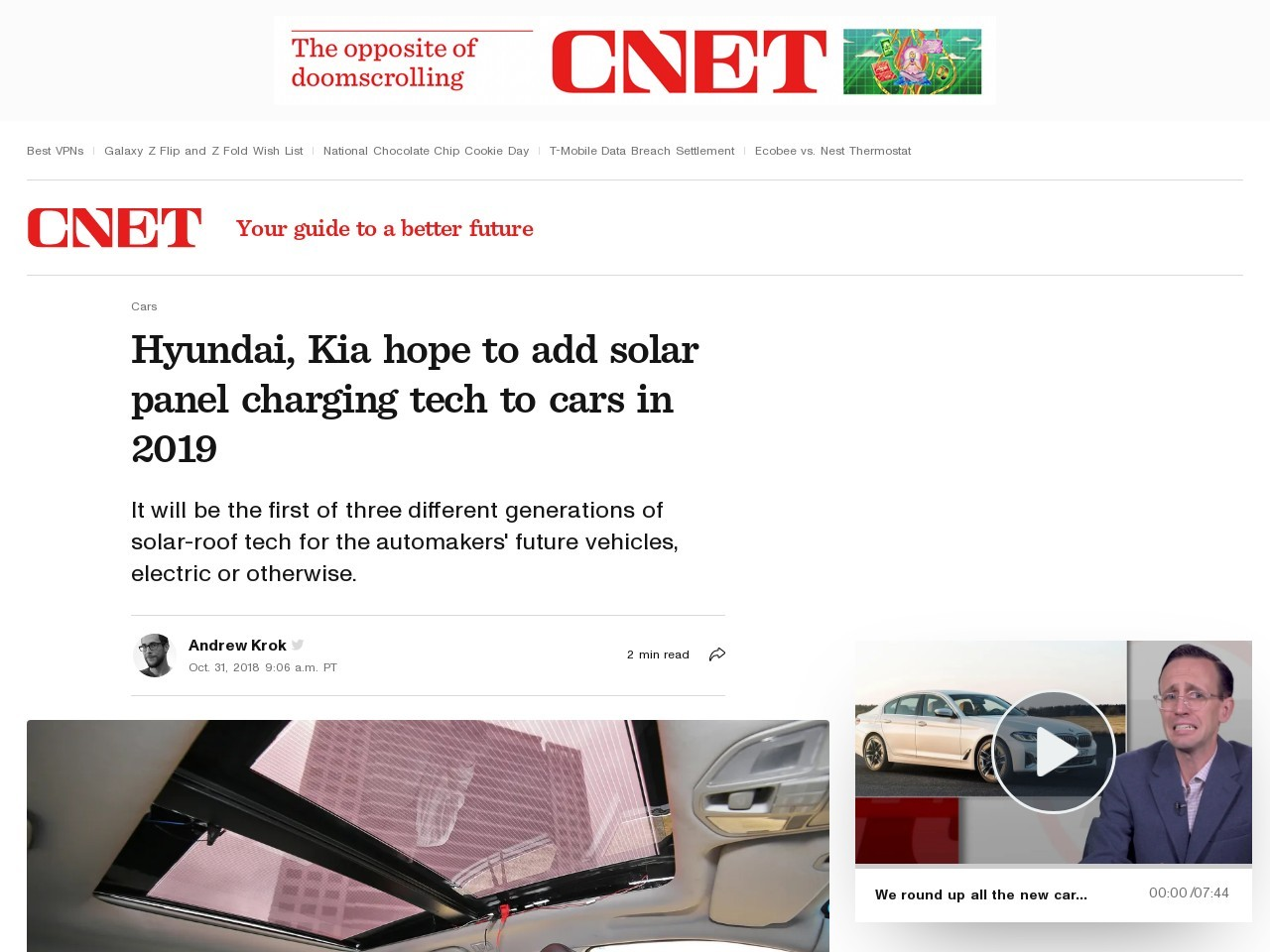 Hyundai, Kia hope to add solar panel charging tech to cars in 2019     – Roadshow