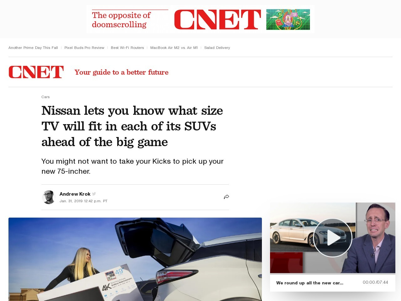 Nissan lets you know what size TV will fit in each of its SUVs ahead of the big game     – Roadshow