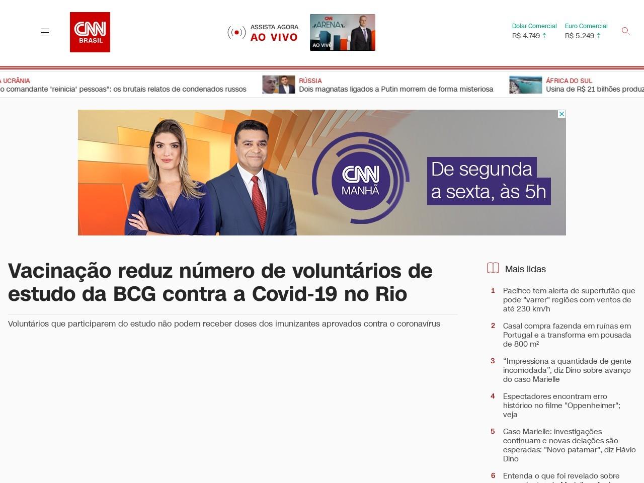 Vacinação reduz número de voluntários de estudo da BCG contra a Covid-19 no Rio
