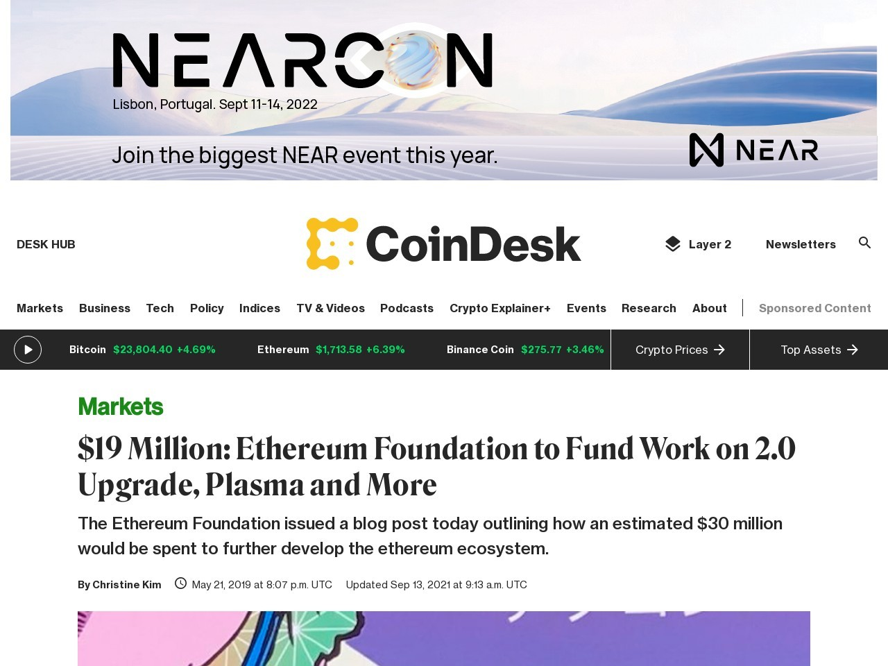 $19 Million: Ethereum Foundation to Fund Work on 2.0 Upgrade, Plasma and More