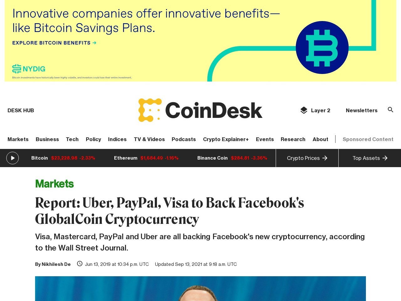 Report: Uber, PayPal, Visa to Back Facebook's GlobalCoin Cryptocurrency