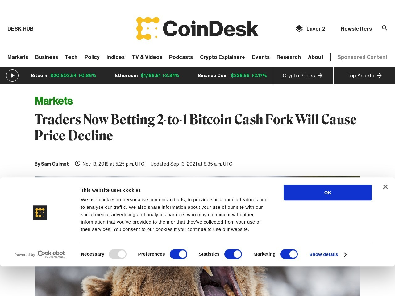 Traders Now Betting 2-to-1 Bitcoin Cash Fork Will Cause Price Decline