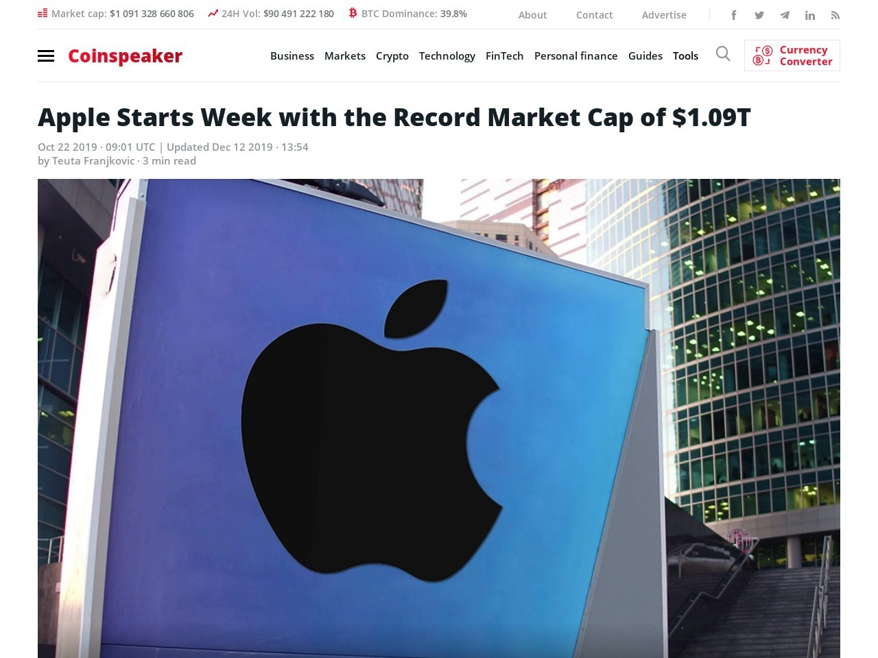 Apple Starts Week with the Record Market Cap of $1.09T