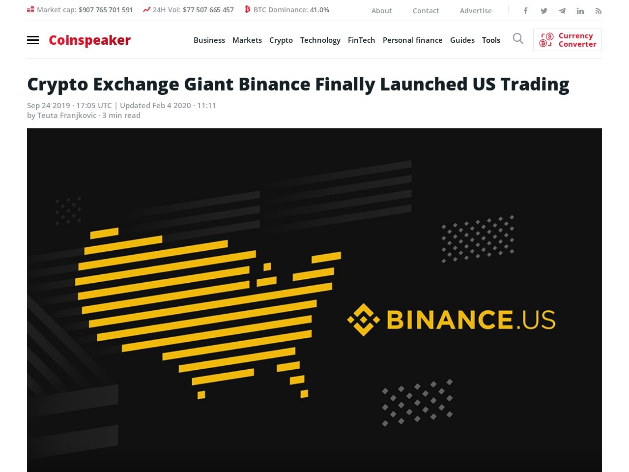 Crypto Exchange Giant Binance Finally Launched US Trading