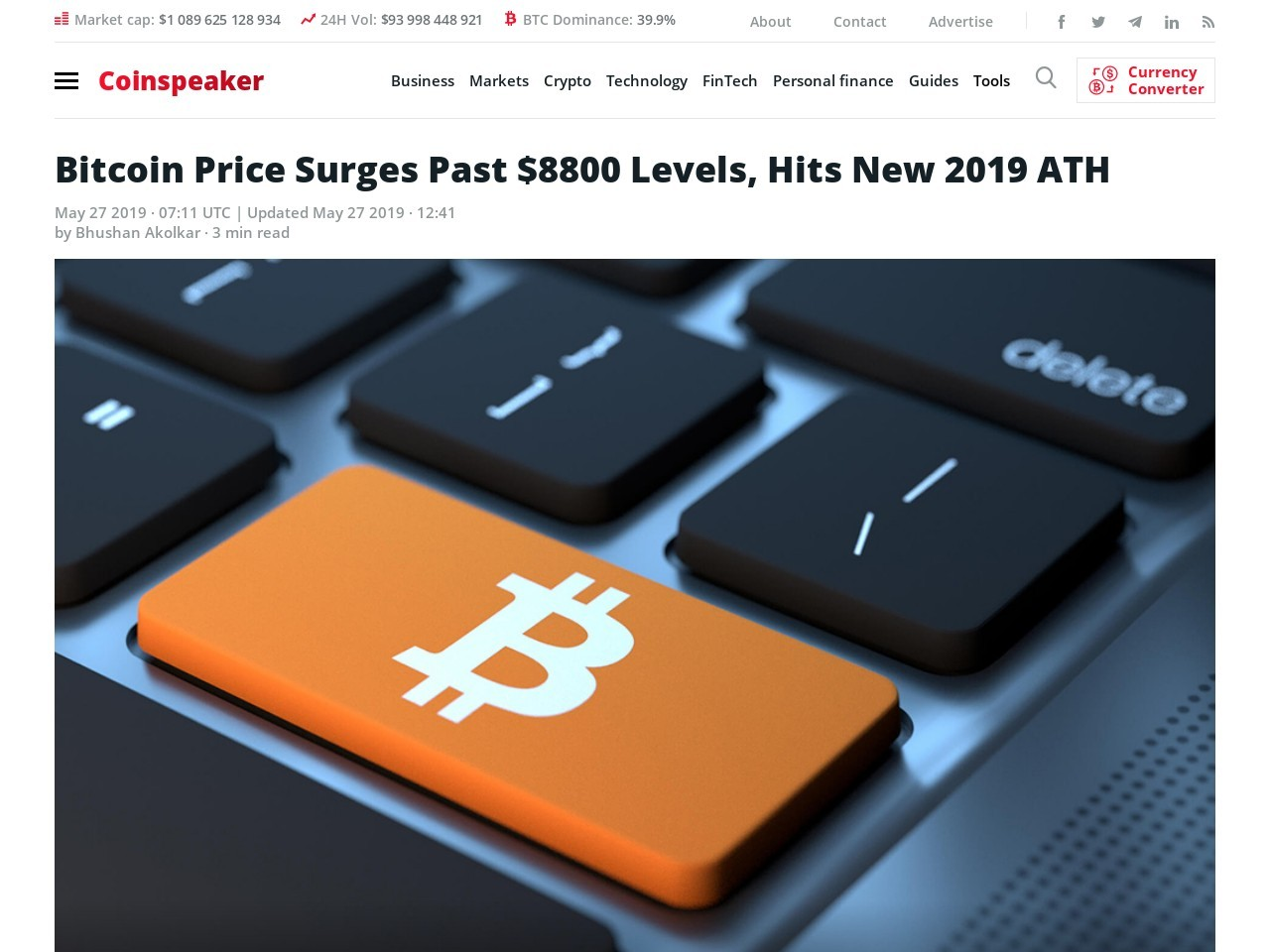 Bitcoin's Price Surges Past $8800 Levels, Starts the Week With a Bang