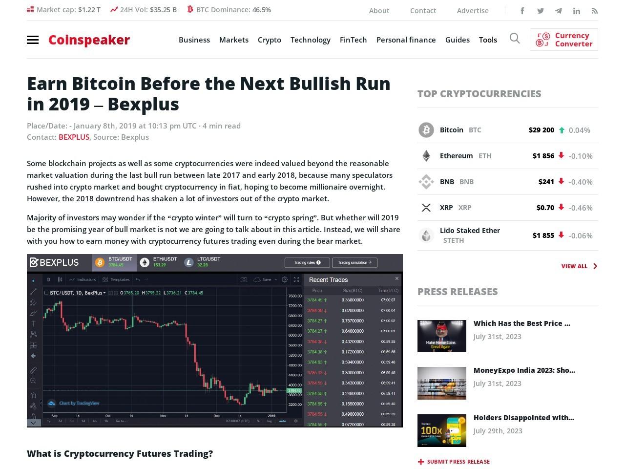Earn Bitcoin Before the Next Bullish Run in 2019 – Bexplus