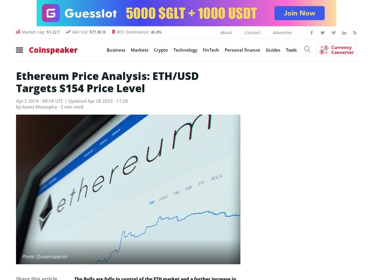 Ethereum Price Analysis: ETH/USD Targets $154 Price Level