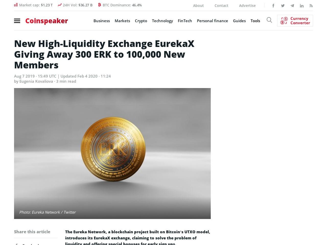 New High-Liquidity Exchange EurekaX Giving Away 300 ERK to 100,000 New Members