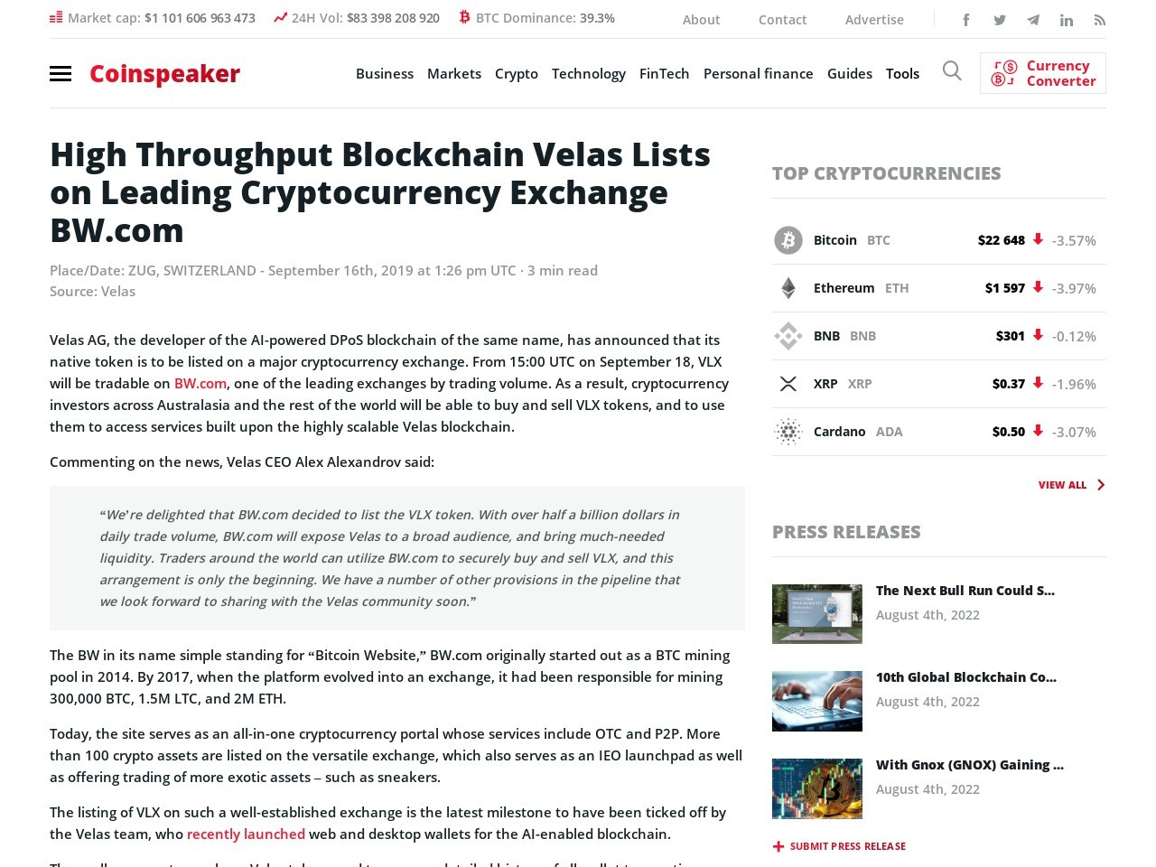 High Throughput Blockchain Velas Lists on Leading Cryptocurrency Exchange BW.com