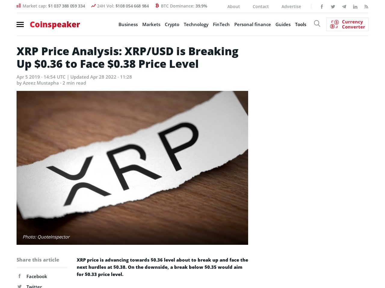 XRP Price Analysis: XRP/USD is Breaking Up $0.36 to Face $0.38 Price Level
