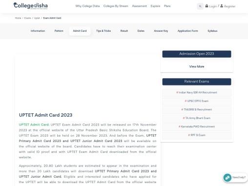 UPTET Admit Card 2021 | College Disha
